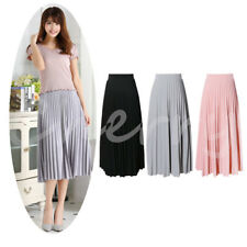 Women Chiffon Retro Long Maxi Beach Dress Elastic High Waist Pleated Midi Skirt