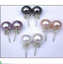 Wholesale 5Color Genuine Natural Akoya Cultured Pearl Silver Stud Earrings AAA+