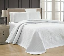 Twin XL Full Queen Cal King Bed Solid White 3 pc Quilt Set Coverlet Bedspread
