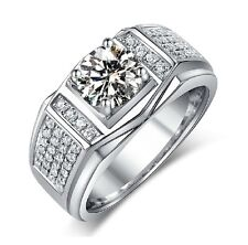 Sz 7-13 Solitaire Jewellery Men Topaz 10KT White Gold Filled Wedding Band Ring