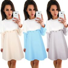 UK Womens Back Zip Long Top Frill T-shirt Ladies Casual Party Mini Dress Blouse