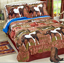 PINTO PAINT WESTERN PONY HORSE Out to Pasture 6-8pc Brown COMFORTER Set & Sheets