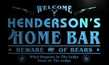 x1081-tm Henderson's Home Bar Hunting Lodge Custom Personalized Name Neon Sign