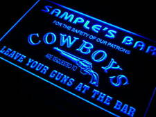 qg-tm Name Personalized Custom Cowboys Leave Your Guns At The Bar Beer Neon Sign