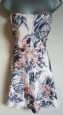 BNWT New NEXT White Pink Blue Floral Bustier Bandeau Strapless Lace Dress 18