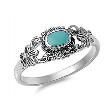 Women 8mm 925 Sterling Silver Turquoise vintage antique Promise Ring Band