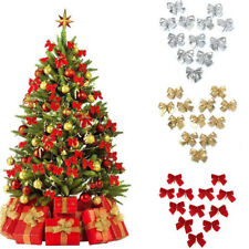 Christmas Tree Bow Tie Decorations pack of 12pcs Red Bows Gold Tie Ornaments