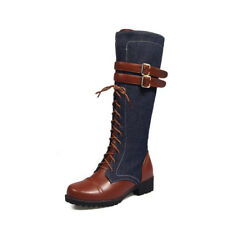 Womens Winter Warm Shoes Fashion Lace Up Punk Martin Knee High Boots Plus Size