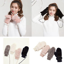Fashion Womens Fur Knitted Fingerless Winter Gloves Soft Warm Mittens Hang Neck