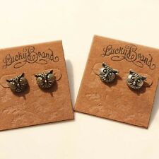 New Encarved Owl Stud Earrings Gift Lovely Vintage Jewelry 2Colors Available FS