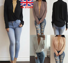 UK Womens Ladies Deep V Neck Collar Chiffon Long Sleeve Blouse Shirt Casual Tops