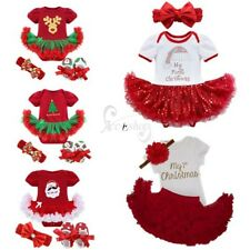 My First Christmas Infant Baby Girls Santa Romper Sequined Tutu Dress Outfit Set