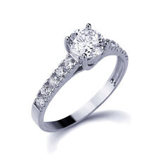 Women 14K White Gold Round Cubic CZ Solitaire Wedding Engagement Ring Band