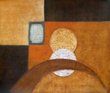 Stained Glass Abstract Shapes Stretched Canvas Hand Painted Brown Oil Painting