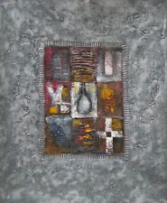 Patchwork on the Stone Abstract Grey Color Stretched Canvas Hand Oil Painting