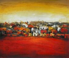 Old Town Abstract Hand Painted Stretched Canvas Art Warm Colors Oil Painting