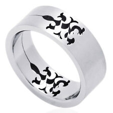Men Fashion 8MM Stainless Steel Cut-Out Tribal Design Wedding Band Ring