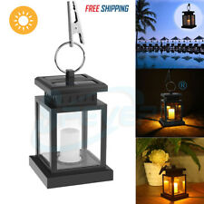 2PC Garden Solar Powered LED Candle Lantern Hanging Light Outdoor Coach Lamp