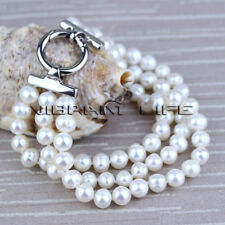 """8"""" 17-20"""" 18"""" 3Row Freshwater Pearl Bracelet Pearl Necklace UK——MORE COLORS"""