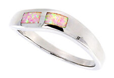 Women 925 Sterling Silver Rhodium Plated, Pink Simulated Opal Ring 5mm Band