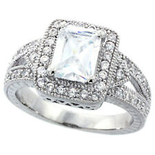 Women Sterling Silver Rhodium Plated, Vintage Solitare Engagement Ring 12mm