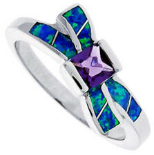 Fine Silver Rhodium Plated Opal Inlay Bow Ring Princess Violet Purple CZ 11mm