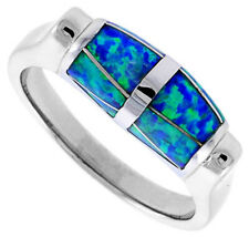 Fine Women 925 Sterling Silver Rhodium Plated, Simulated Opal Inlay Ring 7mm