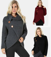 Women's Comfy Chunky Waffle Knit Wrap Front Turtleneck Tunic Sweater Cowl Neck