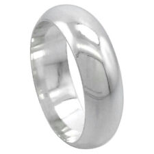 Men Women Sterling Silver Plain 7 mm Classic Domed Wedding Band Thumb Ring