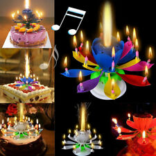 Cake Topper Birthday Lotus Flower Decoration Candle Blossom Musical Rotating