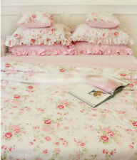 Shabby Chic Cottage Floral Bedding Set Quilt Duvet Cover Pillowcase White Pink