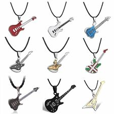 Women/Men Stainless Steel Guitar Pendant Necklace Fashion Jewellery Team Gift