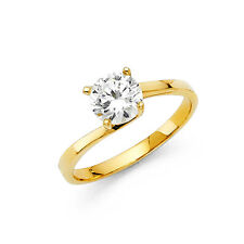 1 Ct Round Diamond Engagement Ring 14k Solid Yellow Gold Solitaire Wedding Ring