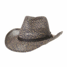 WITHMOONS Western Cowboy Hat Paper Straw Two Tones Banded Fedora CR8316