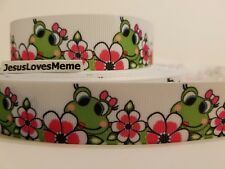 """Grosgrain Ribbon Pretty Green Frog Pink Hair Bow Daisy Flowers Reptiles Frogs 1"""""""