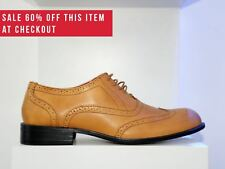 Mens New Marc Darcy Designer Tan Brown Leather Formal Smart Brogue Shoes