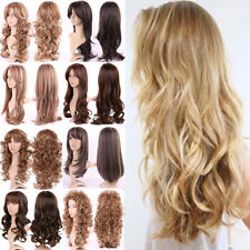 Long Curly Hair Full Wig Heat Resistant Synthetic Hair Brown Blonde Wigs Ombre