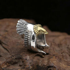 1 Pcs Stainless Steel Fashion Retro Eagle Wings Open Ring Men Ring