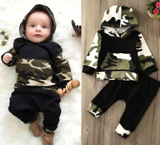 Newborn Toddler Boys Kids Camouflage Hooded Tops+Pants Outfits Clothes Set