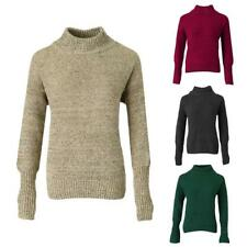 Womens Plain Loose High Neck Chunky Cable Knit Sweater Long Sleeve Jumper Top
