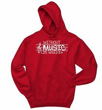 Without Music Life Would Be Flat Funny Sweatshirt Piano Guitar Band Hoodie