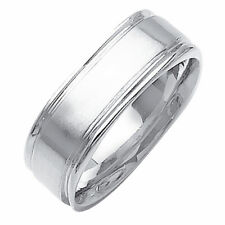 Men 8mm 14K White Gold Comfort Fit Wedding Ring Band / Free Gift Box