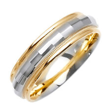 Men 6mm 14K Two Tone Gold Comfort Fit Wedding Ring Band / Free Gift Box