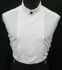 Boys Size White Banded Mandarin Collar Pleated Front Tuxedo Shirt & Button Cover