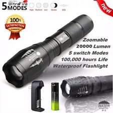 20000Lumens 5 Modes Zoomable Hiking Flashlight LED T6 LED +18650 Battery Torch