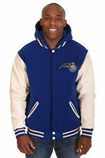 NBA Orlando Magic JH Design Reversible Fleece Faux Leather Jacket Royal Cream