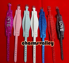 Mixed Color (8+18)mm Shine PU Leather Wristband Bracelets Fit 8mm Slide Charms