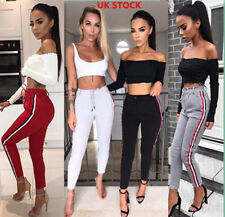Women Vintage Sport Striped Long Trousers Ladies Casual High Waist Stretchy Pant