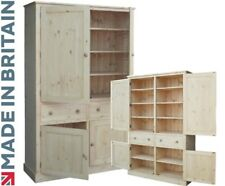 Solid Pine Cupboard, Large 4 Door Larder, Pantry, Linen, Kitchen Storage Cabinet