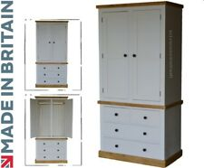 Solid Pine Wardrobe, White Painted & Waxed 2 Door Double Robe with 4 Drawers